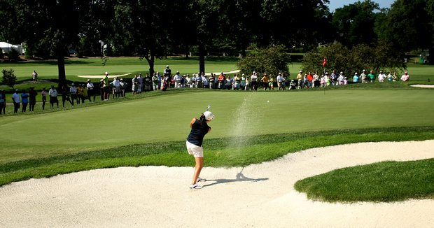St. Louis, MO--08/09/09--Jennifer Song hits out of a greenside bunker at no. 15 during the finals of the 109th U. S. Women's Amateur Championship at Old Warson Country Club in St. Louis, MO.--(Photo by Tracy Wilcox/GOLFWEEK)