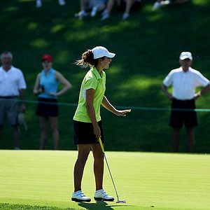St. Louis, MO--08/09/09--Jennifer Johnson reacts to her putt at no. 13 during the finals of the 109th U. S. Women's Amateur Championship at Old Warson Country Club in St. Louis, MO.--(Photo by Tracy Wilcox/GOLFWEEK)