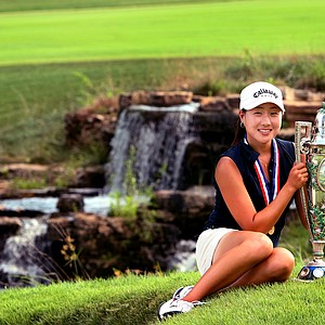 St. Louis, MO--08/09/09--Jennifer Song poses with the Robert Cox Cup after beating Jennifer Johnson 3and1 at the 109th U. S. Women's Amateur Championship at Old Warson Country Club in St. Louis, MO.--(Photo by Tracy Wilcox/GOLFWEEK)