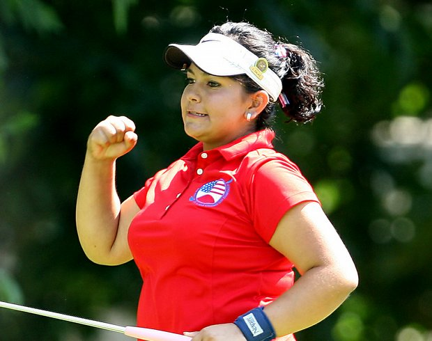 Lizette Salas reacts to making a putt during match play at the 2008 U.S. Women's Amateur Championship.