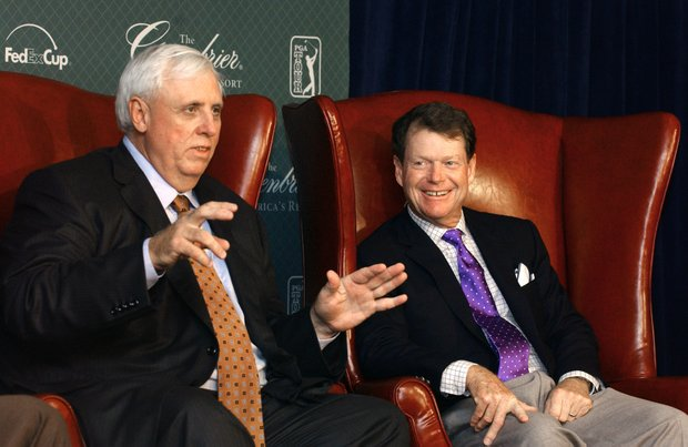 Jim Justice, owner of The Greenbrier, talks during a press conference announcing the six-year deal bringing the PGA Tour to the resort.