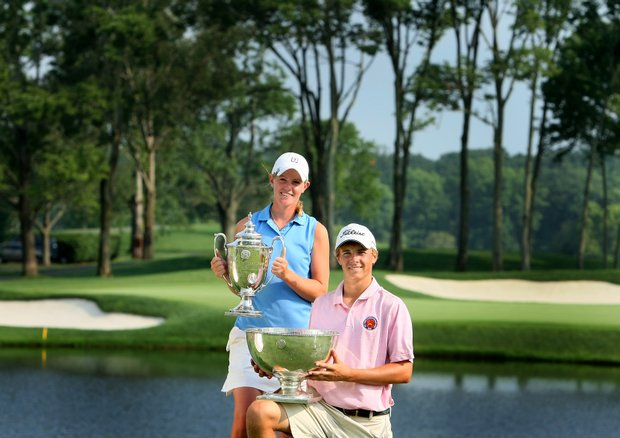 Amy Anderson, the 61st U. S. Girls' Junior Champion and Jordan Spieth, the 62nd U. S. Junior Amateur Champion.