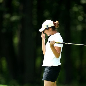 Kimberly Kim reacts to her putt at no. 7.