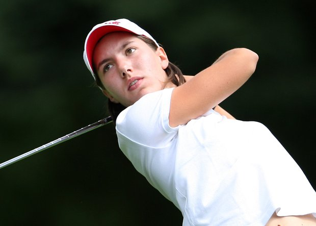 Carlota Ciganda hits a tee shot at the 2008 U. S. Women's Amateur Championship in Eugene, Oregon at Eugene Country Club.