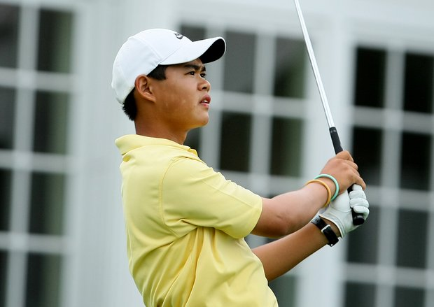 Jay Hwang hits his tee shot at No. 16 during Thursday match play of the 62nd U.S. Junior Amateur Championship at Trump National Golf Club in Bedminster, New Jersey.