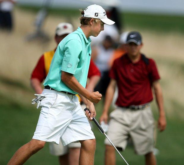 Jordan Spieth wins hole no. 15.