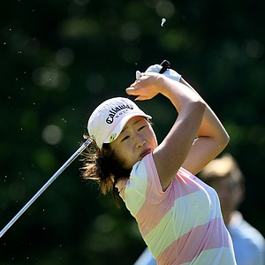 Jennifer Song hits her tee shot at no. 3.