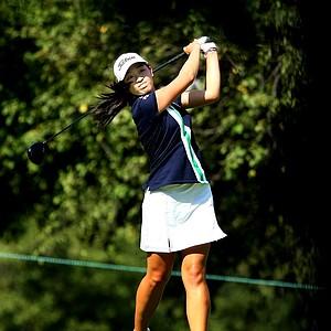 Tiffany Lua hits her tee shot at no. 4.