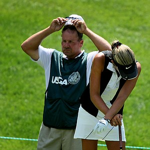 Alexis Thompson and her father/caddie, Scott, at no 13.
