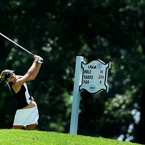 Alexis Thompson hits her tee shot at no. 14.