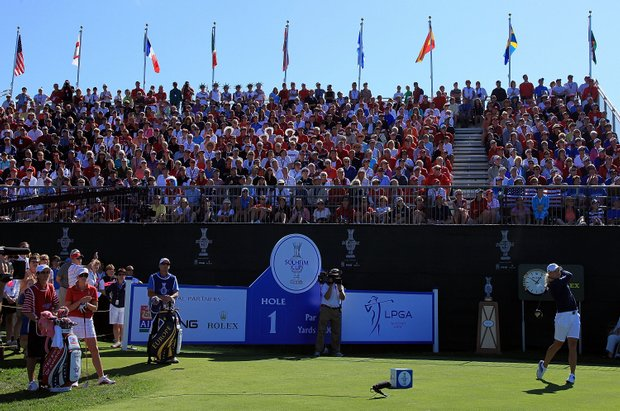 Suzann Pettersen starts the Sunday singles matches at the Solheim Cup.