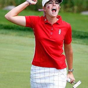 Paula Creamer celebrates after making a putt.