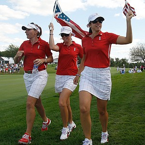 Team USA celebrates after winning the Solheim Cup.