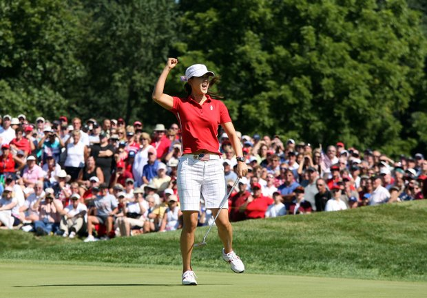 Michelle Wie birdies the third hole during the Sunday singles matches at the Solheim Cup.