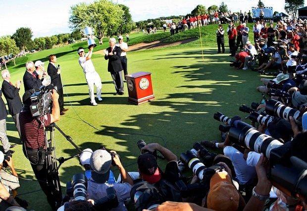 Y.E. Yang of South Korea after winning the 2009 PGA Championship.