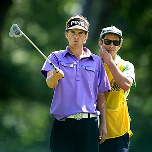 Nico Geyger and his caddie/brother Michi Geyger, at No. 12.