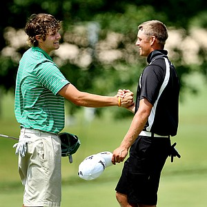 Peter Uihlein, left, defeated James Sacheck, right, during Wednesday's round of 64.