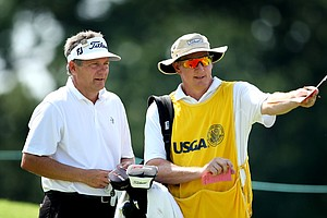 Tim Jackson at no. 10 with his caddie Frank Billings.