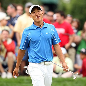 Anthony Kim smiles during the final round of the AT&T National hosted by Tiger Woods at Congressional Country Club.