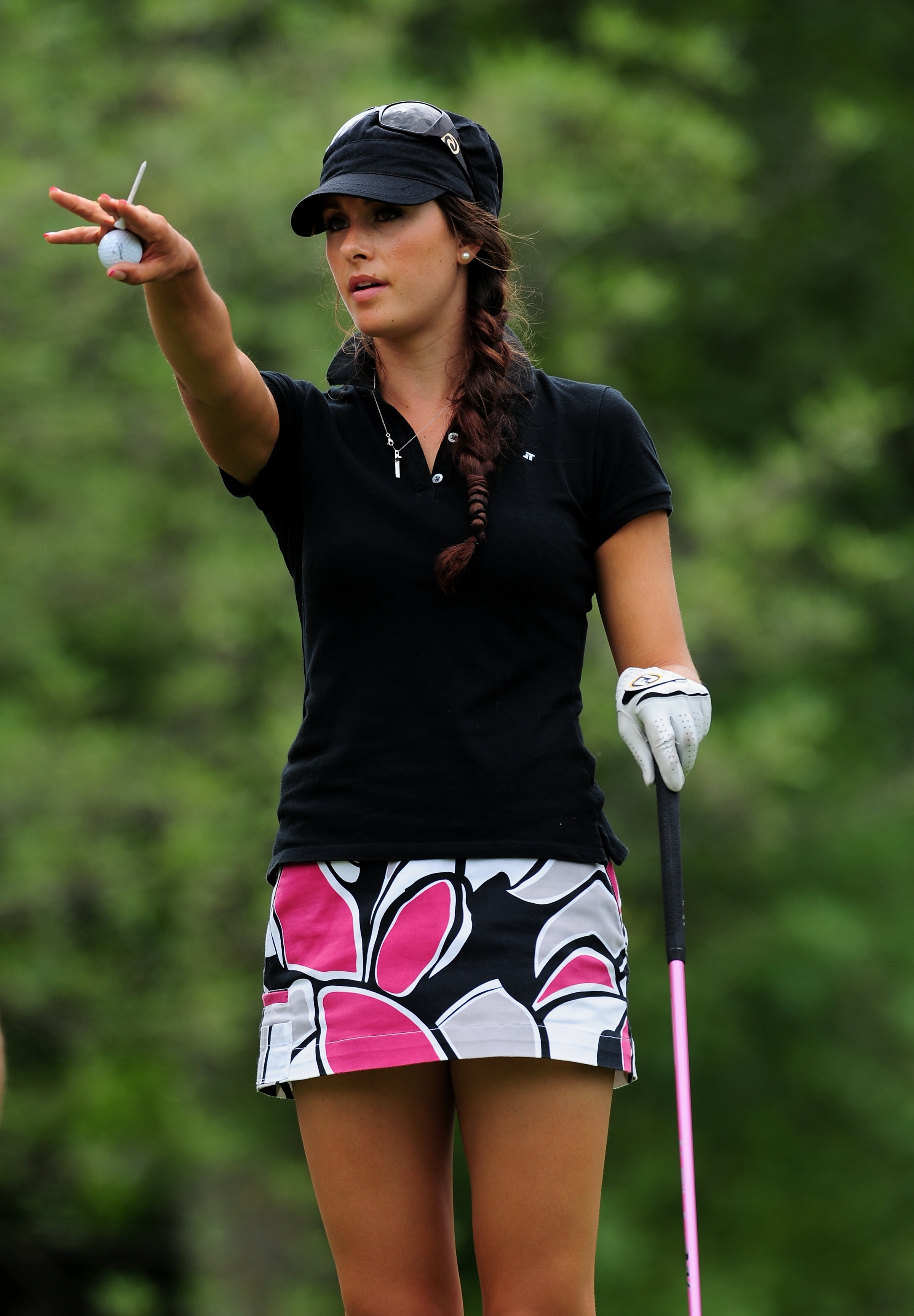 Maria Verchenova of Russia gestures during the first round of the Evian Masters.