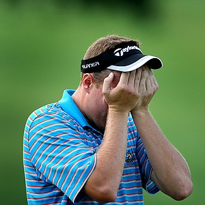 Mike Van Sickle reacts after missing his putt at No. 18 extending the match into extra holes during Thursday's Round of 16.