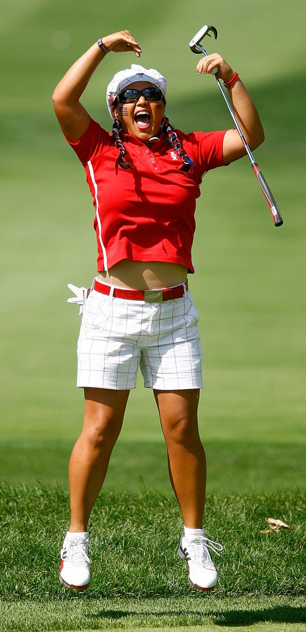 Christina Kim celebrates at the Solheim Cup.