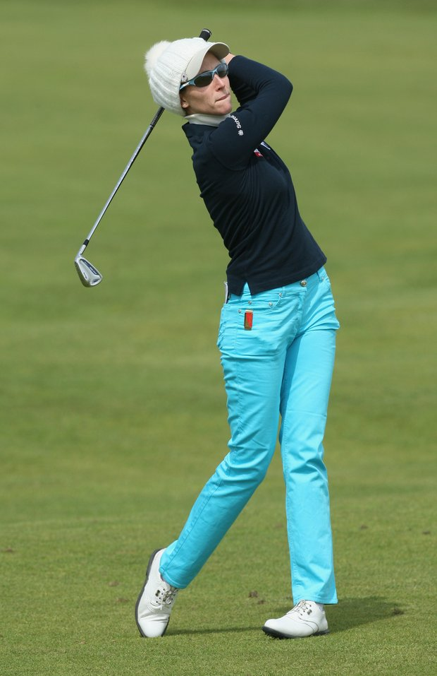 Diana Luna of Italy watches her shot during the first round of the 2009 Ricoh Women's British Open Championship.
