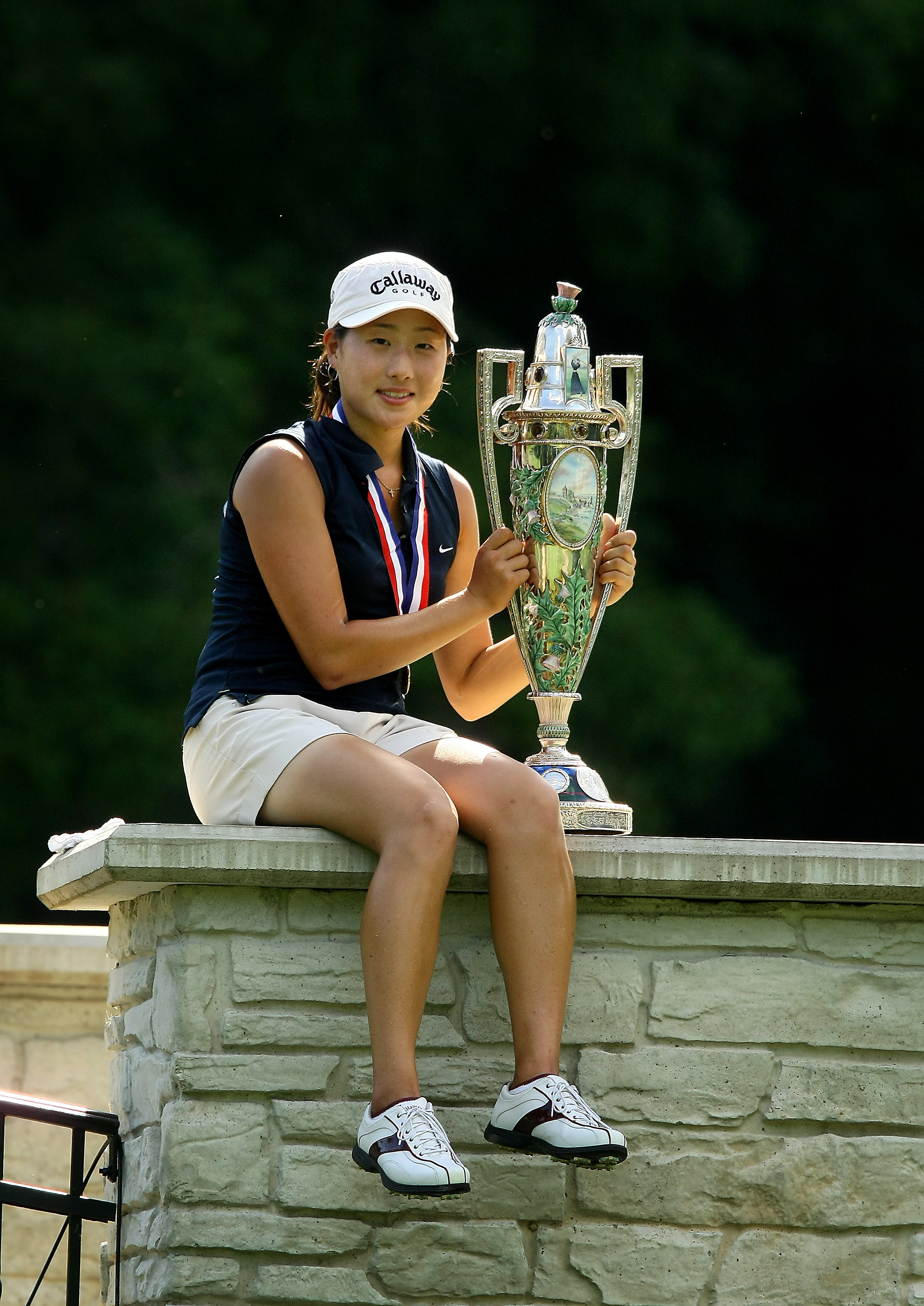 Jennifer Song poses with the Robert Cox Cup after winning the 2009 U.S. Women's Amateur Championship.