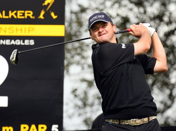 Paul Lawrie of Scotland during the first round of the Johnnie Walker Championship on the PGA Centenary Course at Gleneagles in Auchterarder, Scotland.