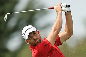 Sergio Garcia tees off during the first round of The Barclays.