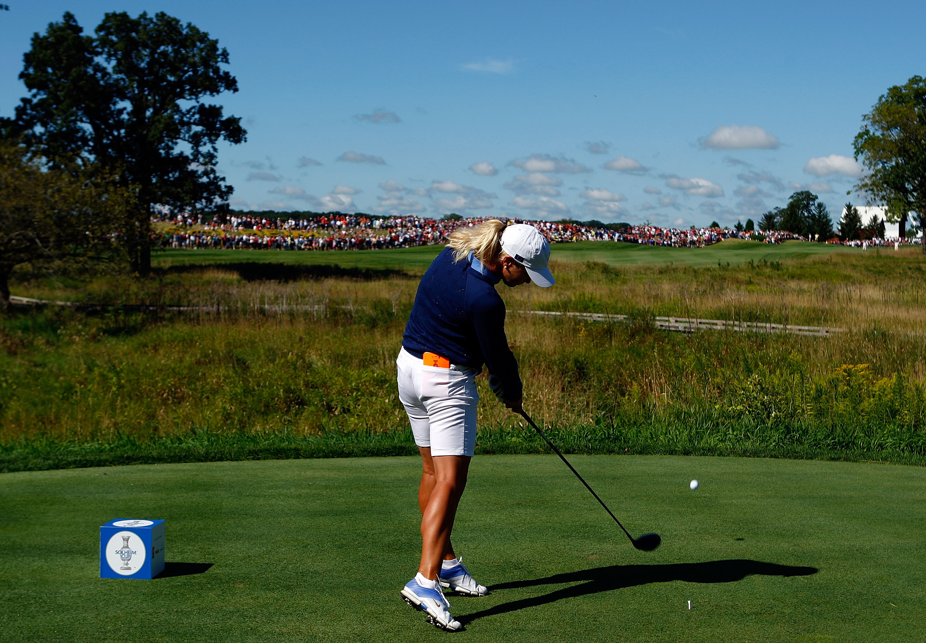 Suzann Pettersen wears her blue outfit well at the Solheim Cup.