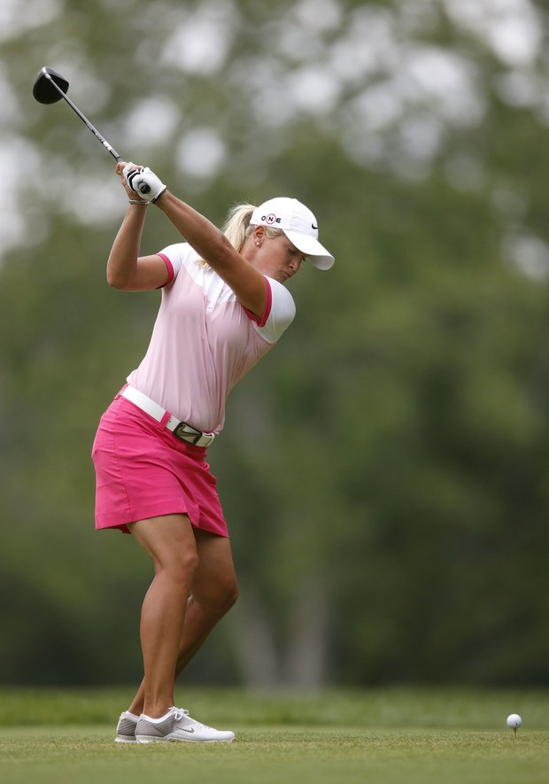 Suzann Pettersen hits her tee shot on the 16th hole during the second round of the Jamie Farr Owens Corning Classic.