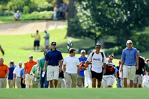 Peter Uihlein walks down the fifth fairway during Friday's quarterfinals.
