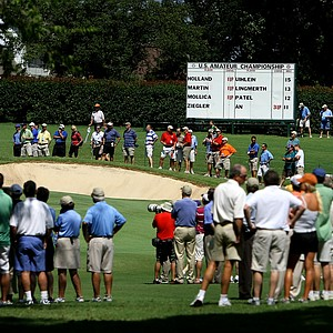 A crowd gathers around the 16th hole during Friday's quarterfinals.
