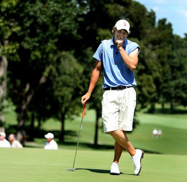 Peter Uihlein reacts to missing his putt at No. 18.