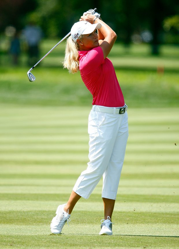 Suzann Pettersen of Norway watches a shot to the 14th green during the second round of the 2009 U.S. Women's Open.