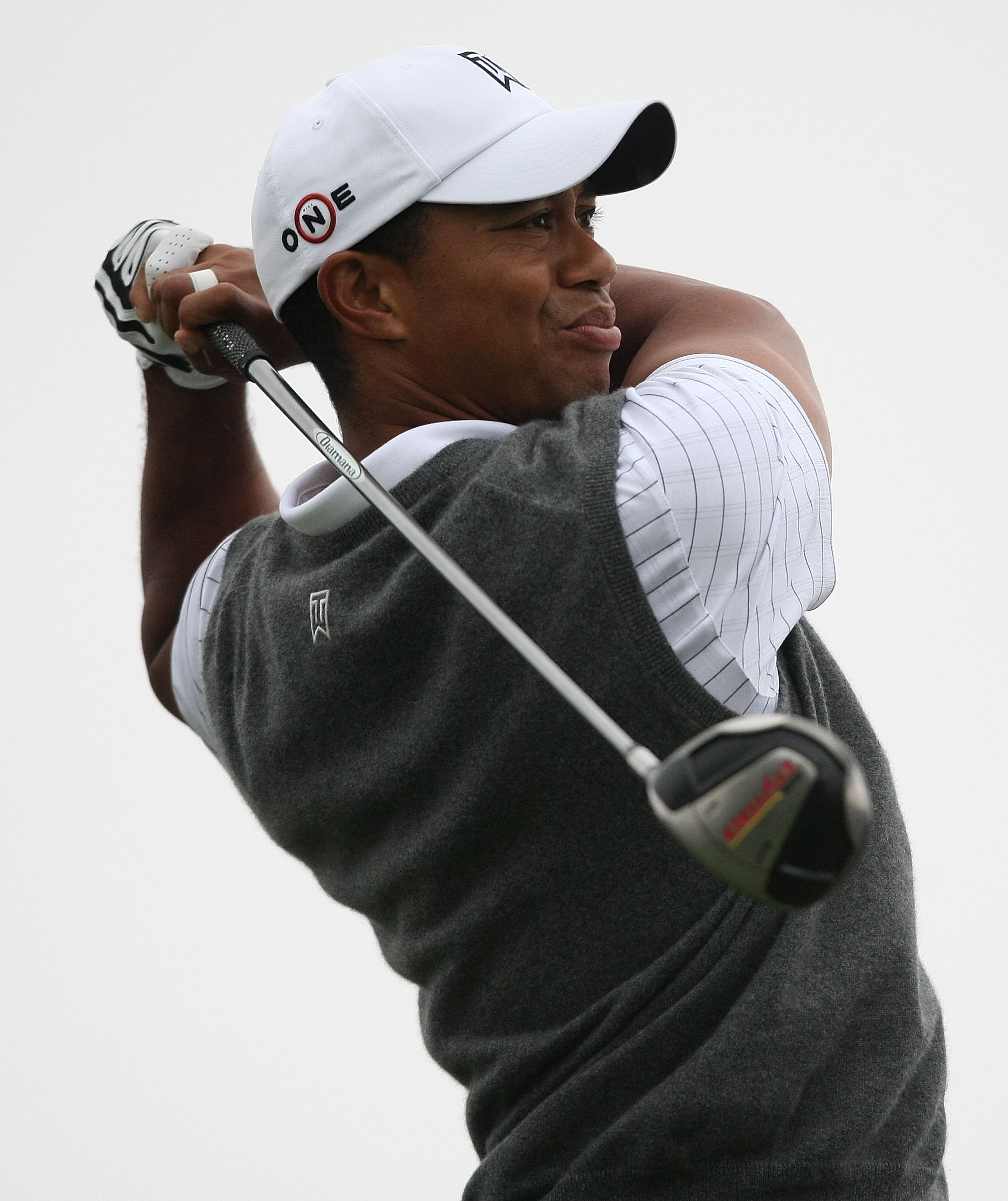Tiger Woods hits his tee shot on the 15th hole during Round 2 of The Barclays.