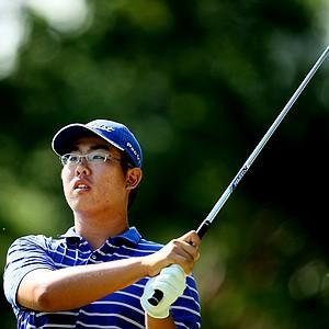 Byeong-Hun An hits his tee shot at No. 6.