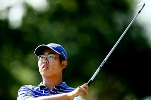 Byeong-Hun An hits his tee shot at No. 6.