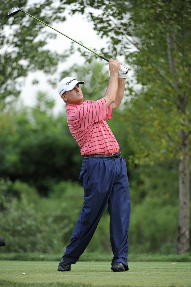 Paul Goydos tees off on No. 16 during the third round of The Barclays.