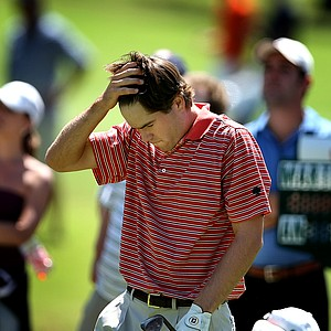 Ben Martin reacts after leaving No. 7 in the afternoon round of the final.