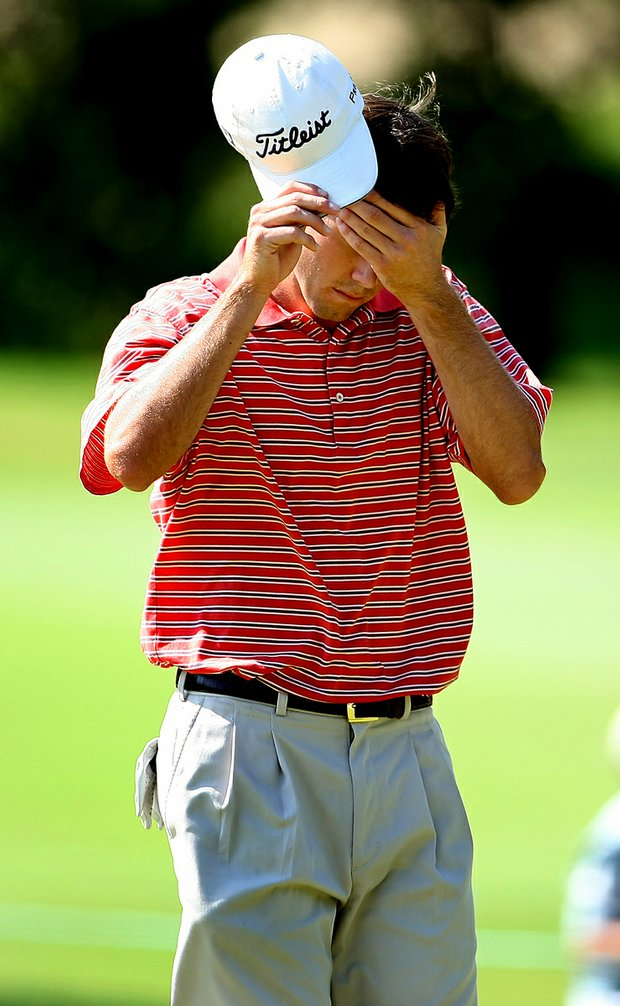 Ben Martin reacts after losing the 13th hole Sunday morning at the U.S. Amateur.