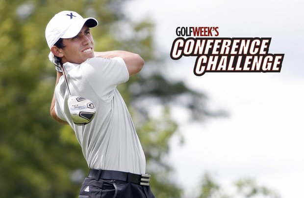 Xavier sophomore Sebastian MacLean shot 4-under 68 Sunday and is tied for the lead at Golfweek's Conference Challenge.
