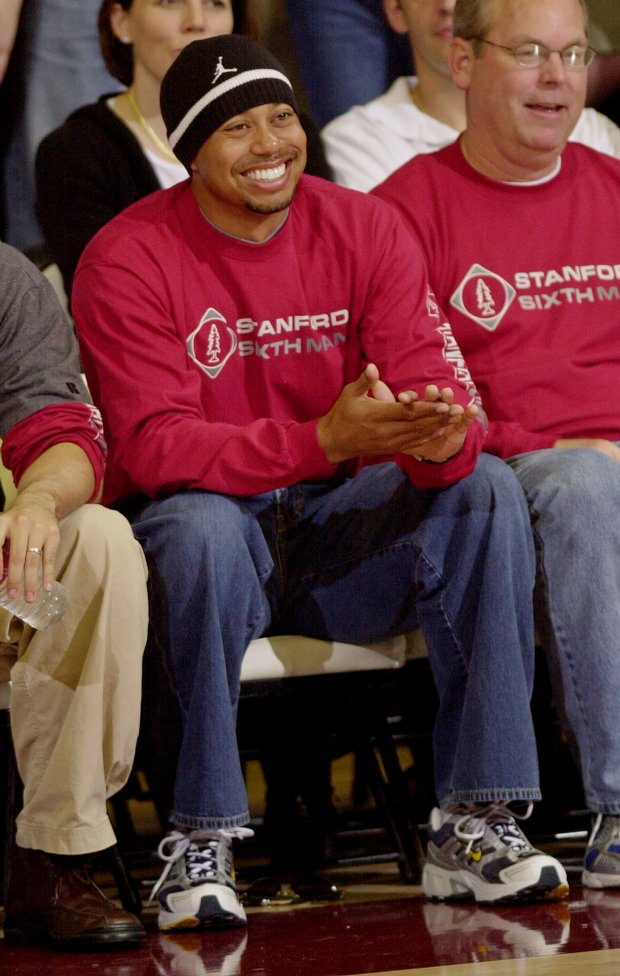 Tiger Woods at a Stanford basketball game against California in 2005.