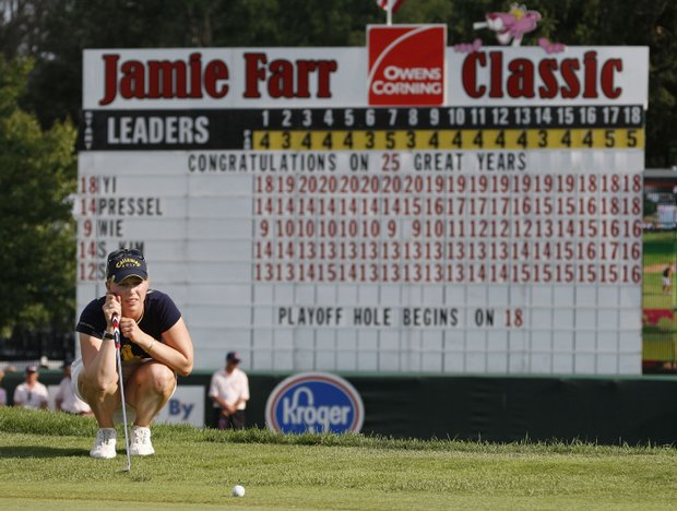 Morgan Pressel lines up a birdie putt on the first playoff hole during the final round of the Jamie Farr Owens Corning Classic at Highland Meadows Golf Club on July 5, 2009 in Sylvania, Ohio.