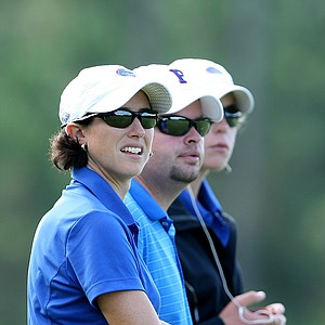 University of Florida head coach Jan Dowling, far left, watches her players during the Hooters Collegiate Match Play Championship.