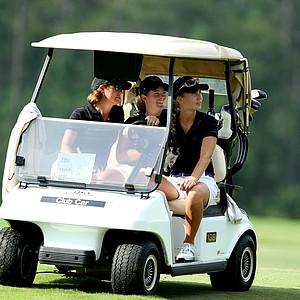 LSU head coach Karen Bahnsen and players Mary Michael Maggio and Megan McChrystal.