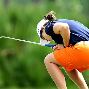 Candace Schepperle of Auburn reacts to missing her putt at No. 17.