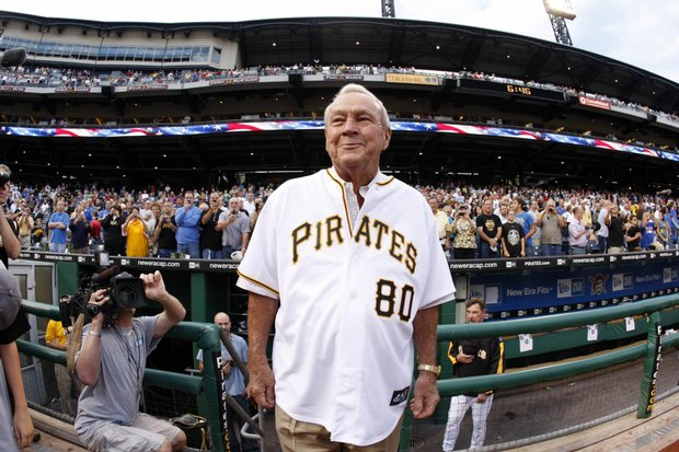 Arnold Palmer arrives on the field at PNC Park before the Pittsburgh Pirates and Chicago Cubs game in Pittsburgh on Sept. 8. Palmer was at the park for a celebration of his 80th birthday on Sept. 10.