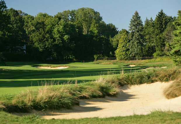The 420-yard par-4 sixth hole on the East Course at Merion Golf Club.